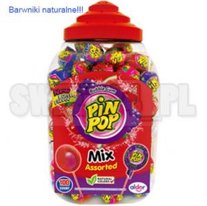 Lizaki Pin Pop MIX Assorted z gumą balonową 18g. op.100szt.     0,39 zł/szt.